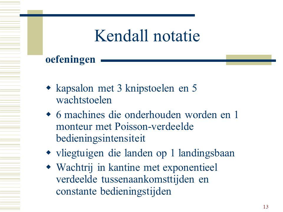 13 Kendall notatie oefeningen  kapsalon met 3 knipstoelen en 5 wachtstoelen  6 machines die onderhouden worden en 1 monteur met Poisson-verdeelde be