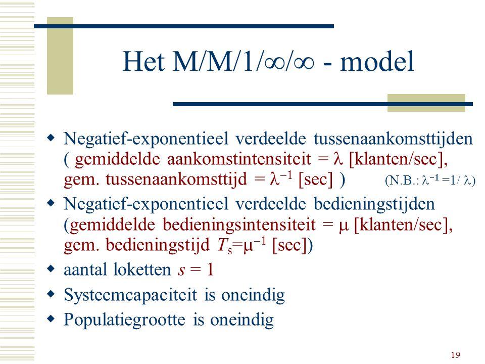 19 Het M/M/1/  /  - model  Negatief-exponentieel verdeelde tussenaankomsttijden ( gemiddelde aankomstintensiteit = [klanten/sec], gem. tussenaankom