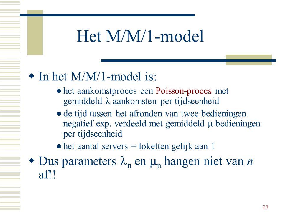 21 Het M/M/1-model  In het M/M/1-model is: het aankomstproces een Poisson-proces met gemiddeld  aankomsten per tijdseenheid de tijd tussen het afron