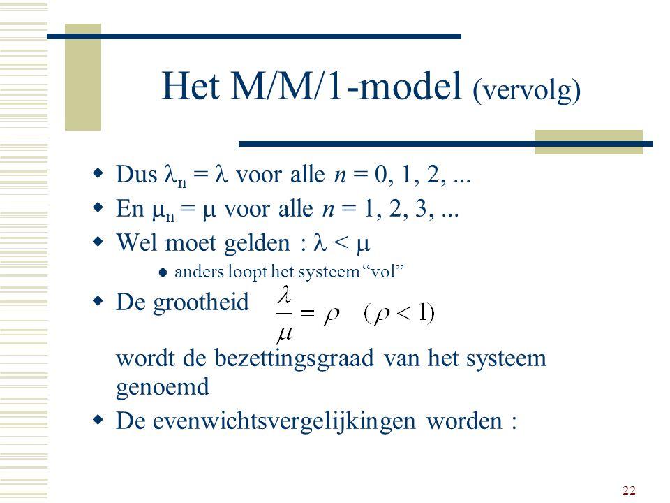 22 Het M/M/1-model (vervolg)  Dus n =  voor alle n = 0, 1, 2,...  En  n =  voor alle n = 1, 2, 3,...  Wel moet gelden : <  anders loopt het sy
