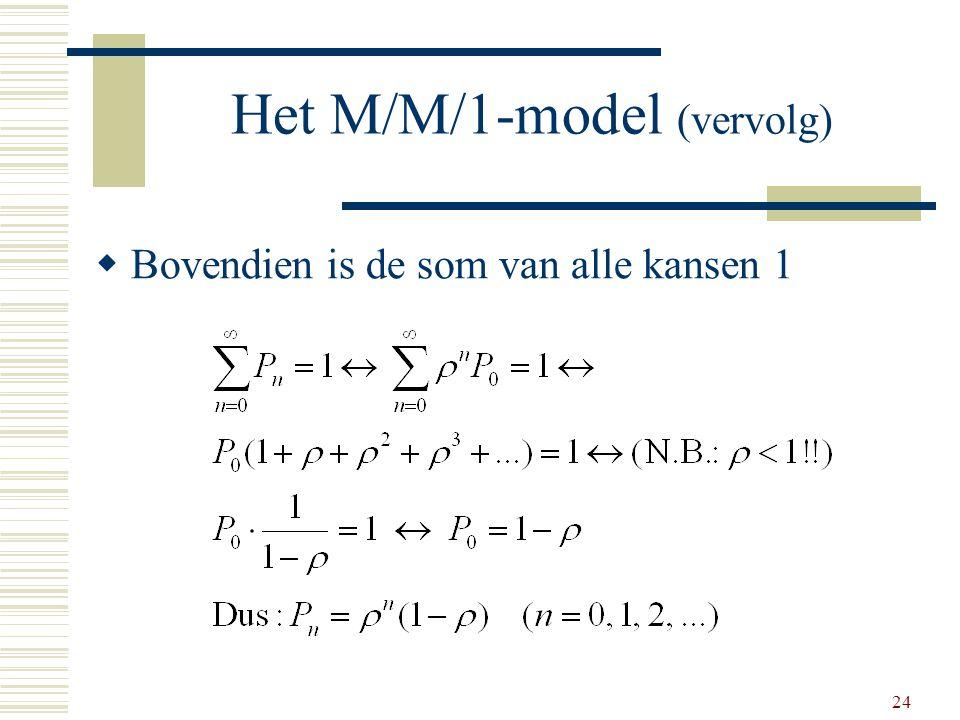 24 Het M/M/1-model (vervolg)  Bovendien is de som van alle kansen 1