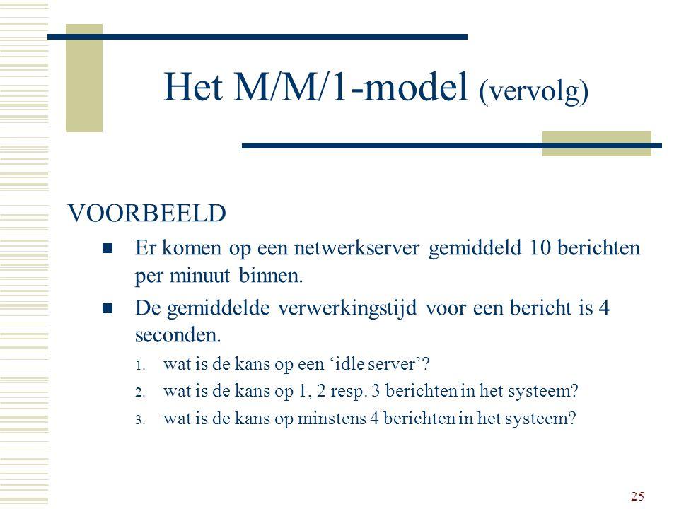 25 Het M/M/1-model (vervolg) VOORBEELD Er komen op een netwerkserver gemiddeld 10 berichten per minuut binnen. De gemiddelde verwerkingstijd voor een