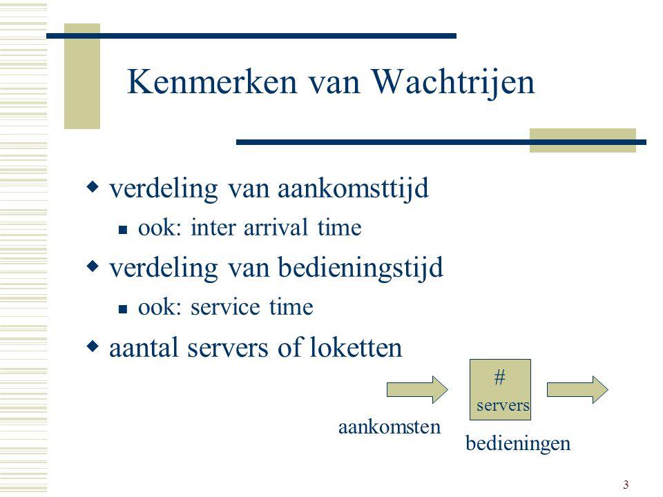 3 Kenmerken van Wachtrijen  verdeling van aankomsttijd ook: inter arrival time  verdeling van bedieningstijd ook: service time  aantal servers of l