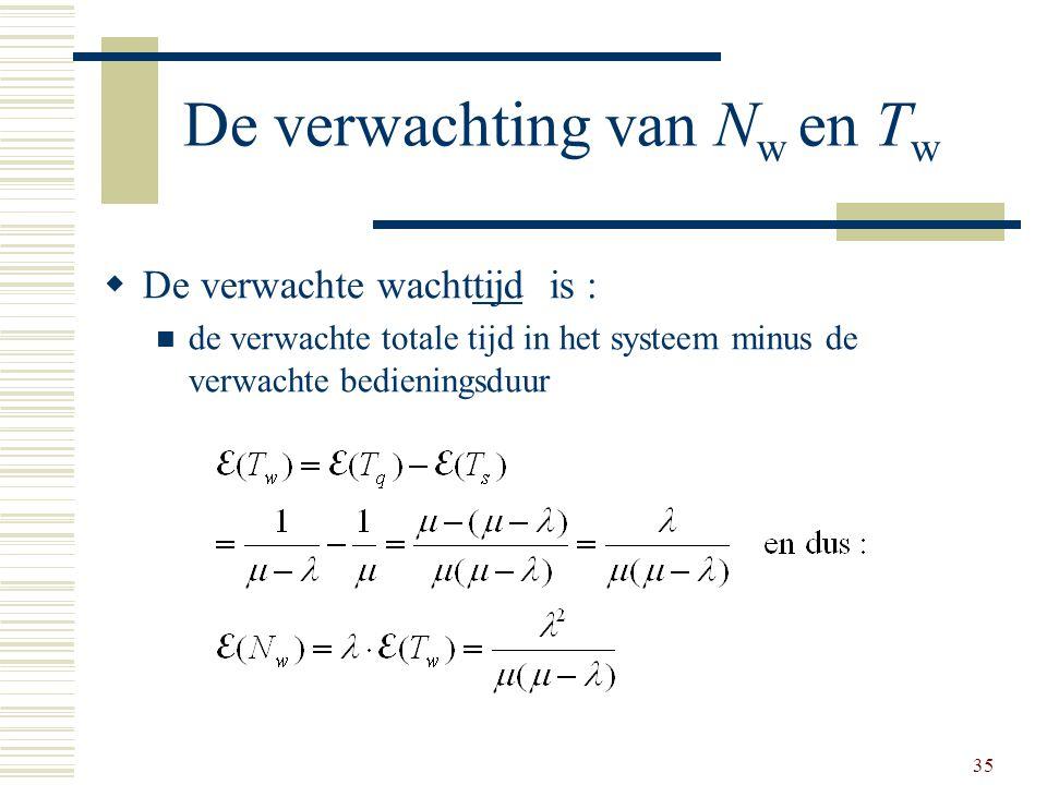 35 De verwachting van N w en T w  De verwachte wachttijd is : de verwachte totale tijd in het systeem minus de verwachte bedieningsduur