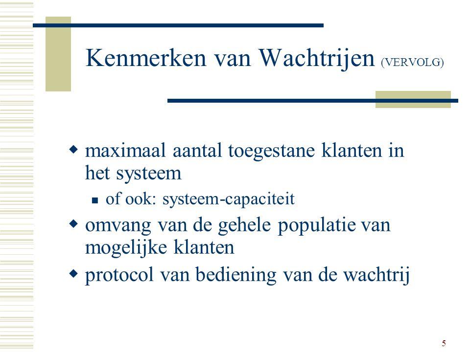 5 Kenmerken van Wachtrijen (VERVOLG)  maximaal aantal toegestane klanten in het systeem of ook: systeem-capaciteit  omvang van de gehele populatie v