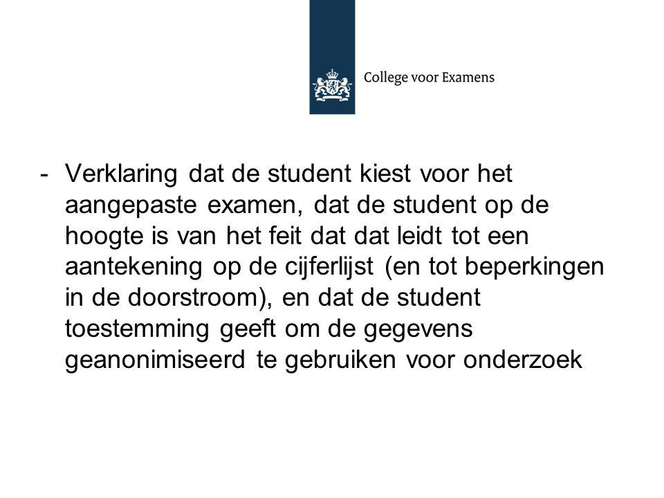 -Verklaring dat de student kiest voor het aangepaste examen, dat de student op de hoogte is van het feit dat dat leidt tot een aantekening op de cijfe