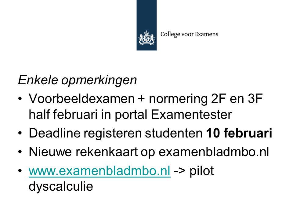 Enkele opmerkingen Voorbeeldexamen + normering 2F en 3F half februari in portal Examentester Deadline registeren studenten 10 februari Nieuwe rekenkaa
