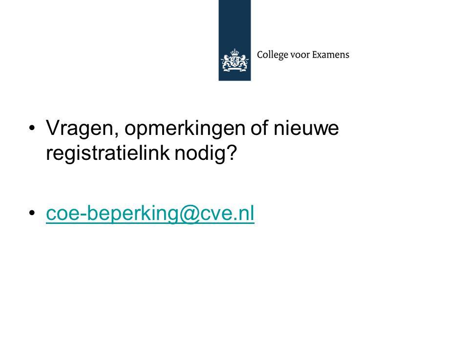 Vragen, opmerkingen of nieuwe registratielink nodig? coe-beperking@cve.nl