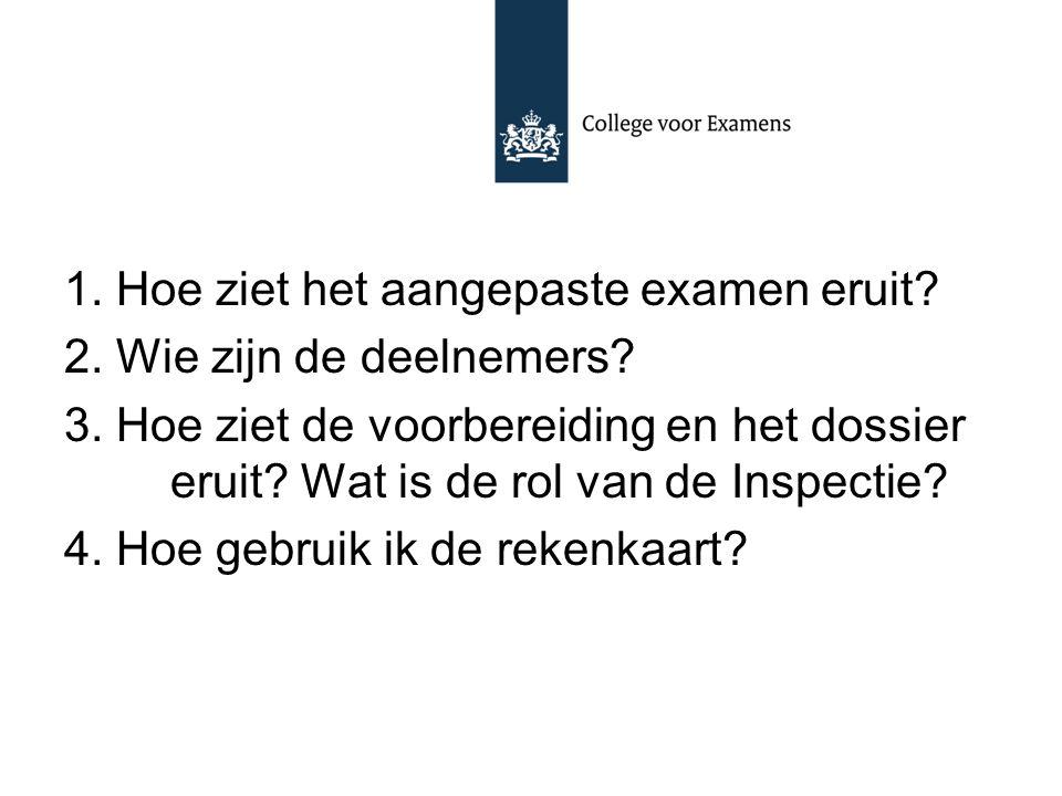 1. Hoe ziet het aangepaste examen eruit? 2. Wie zijn de deelnemers? 3. Hoe ziet de voorbereiding en het dossier eruit? Wat is de rol van de Inspectie?