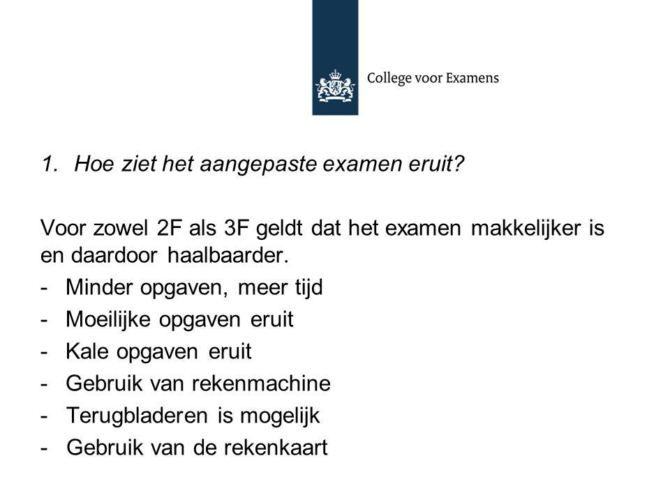 1.Hoe ziet het aangepaste examen eruit? Voor zowel 2F als 3F geldt dat het examen makkelijker is en daardoor haalbaarder. -Minder opgaven, meer tijd -