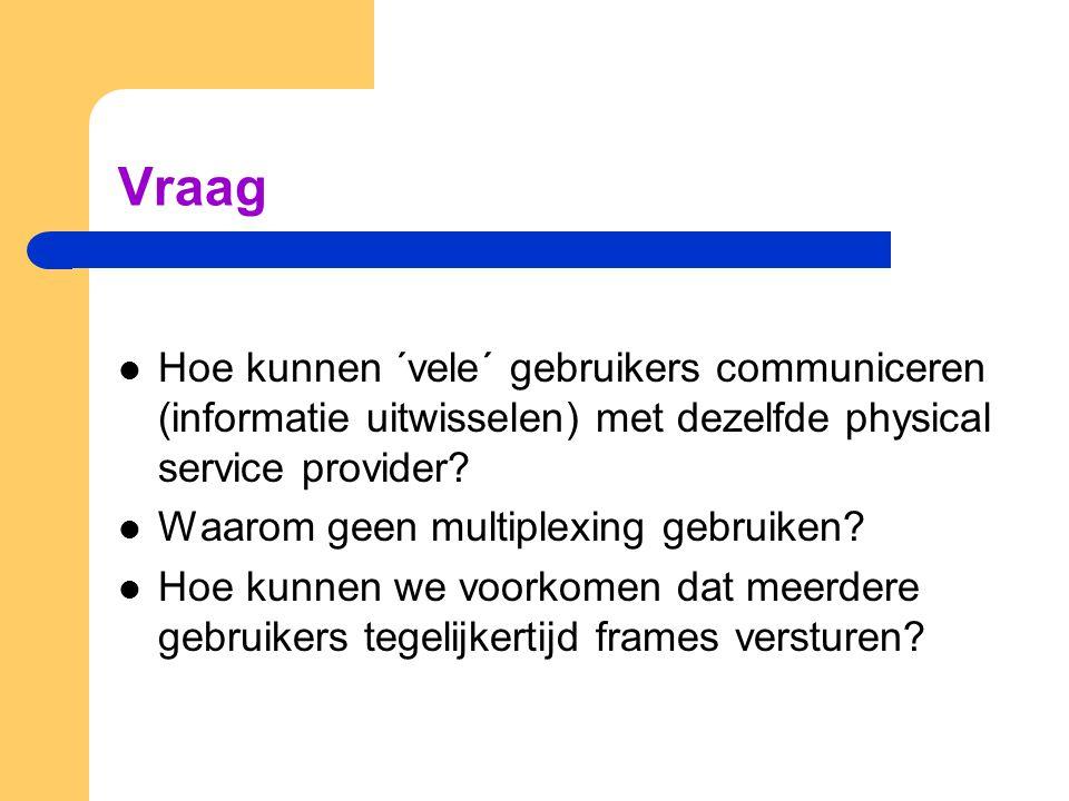 Vraag Hoe kunnen ´vele´ gebruikers communiceren (informatie uitwisselen) met dezelfde physical service provider.