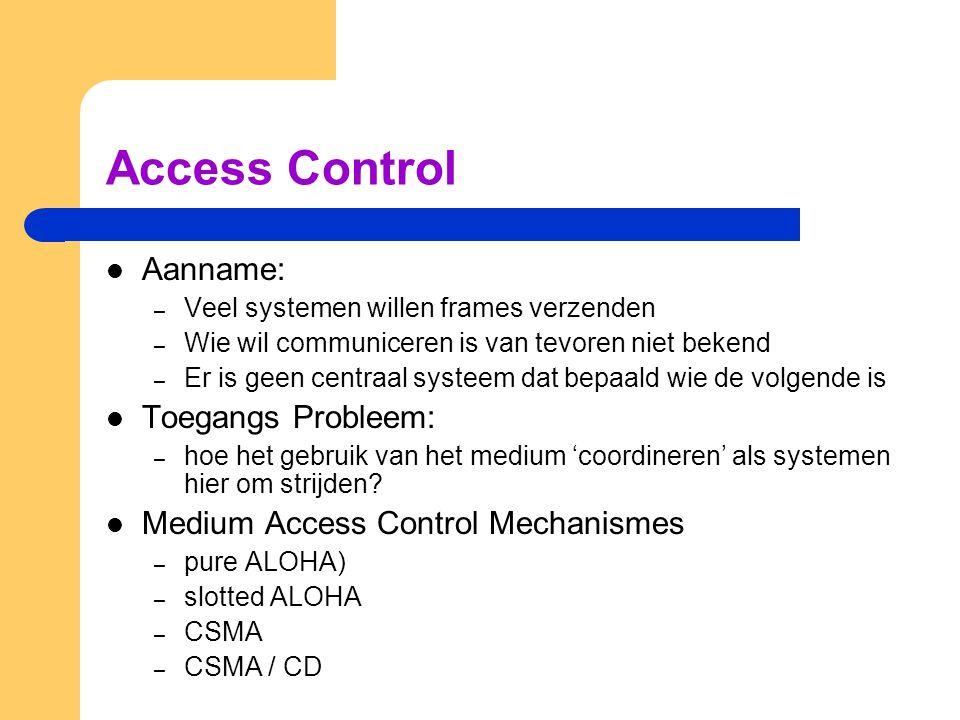 Access Control Aanname: – Veel systemen willen frames verzenden – Wie wil communiceren is van tevoren niet bekend – Er is geen centraal systeem dat bepaald wie de volgende is Toegangs Probleem: – hoe het gebruik van het medium 'coordineren' als systemen hier om strijden.