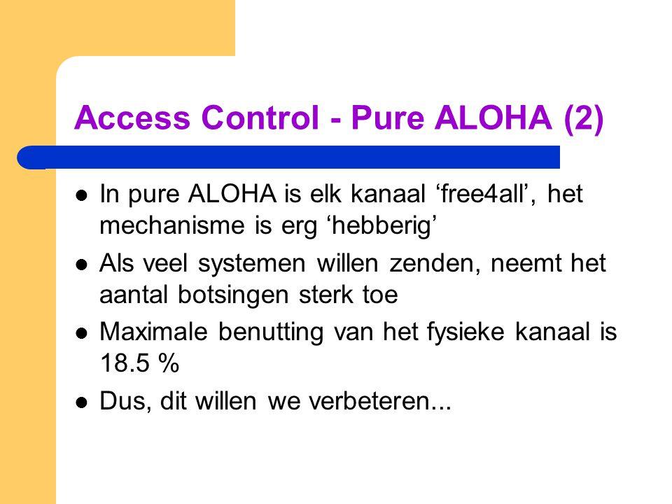 Access Control - Pure ALOHA (2) In pure ALOHA is elk kanaal 'free4all', het mechanisme is erg 'hebberig' Als veel systemen willen zenden, neemt het aantal botsingen sterk toe Maximale benutting van het fysieke kanaal is 18.5 % Dus, dit willen we verbeteren...