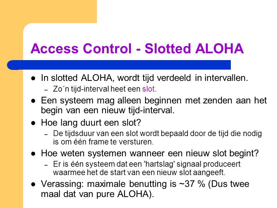 Access Control - Slotted ALOHA In slotted ALOHA, wordt tijd verdeeld in intervallen.