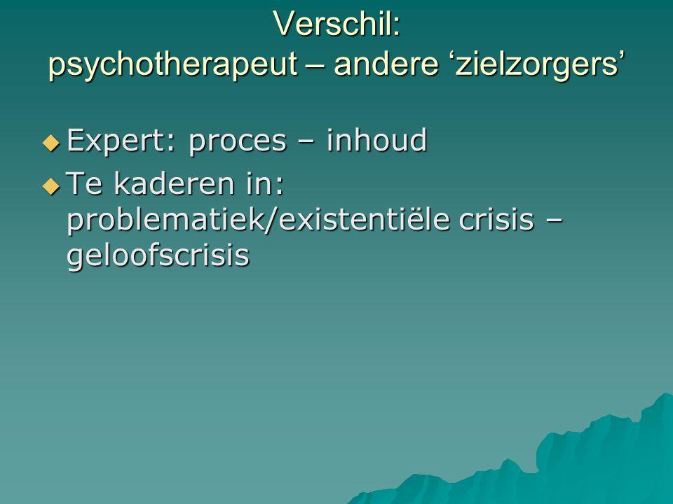 Verschil: psychotherapeut – andere 'zielzorgers'  Expert: proces – inhoud  Te kaderen in: problematiek/existentiële crisis – geloofscrisis