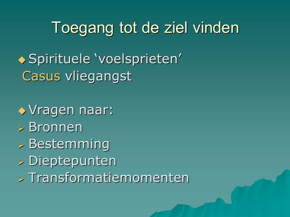 Toegang tot de ziel vinden  Spirituele 'voelsprieten' Casus vliegangst Casus vliegangst  Vragen naar:  Bronnen  Bestemming  Dieptepunten  Transf
