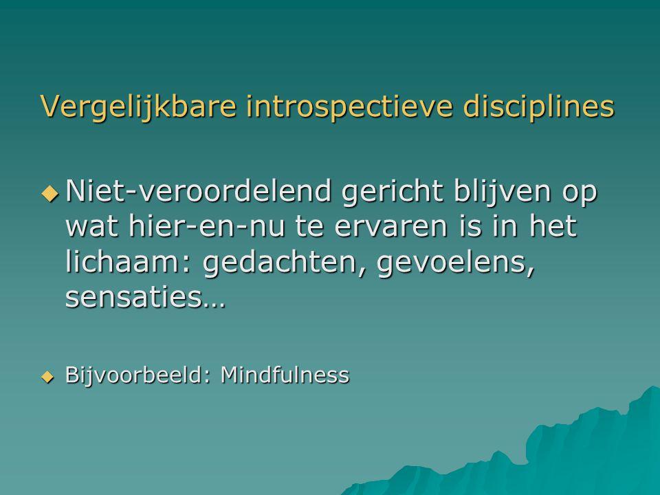 Vergelijkbare introspectieve disciplines  Niet-veroordelend gericht blijven op wat hier-en-nu te ervaren is in het lichaam: gedachten, gevoelens, sen