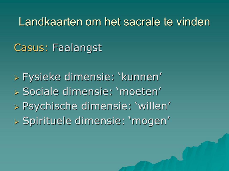 Landkaarten om het sacrale te vinden Casus: Faalangst  Fysieke dimensie: 'kunnen'  Sociale dimensie: 'moeten'  Psychische dimensie: 'willen'  Spir