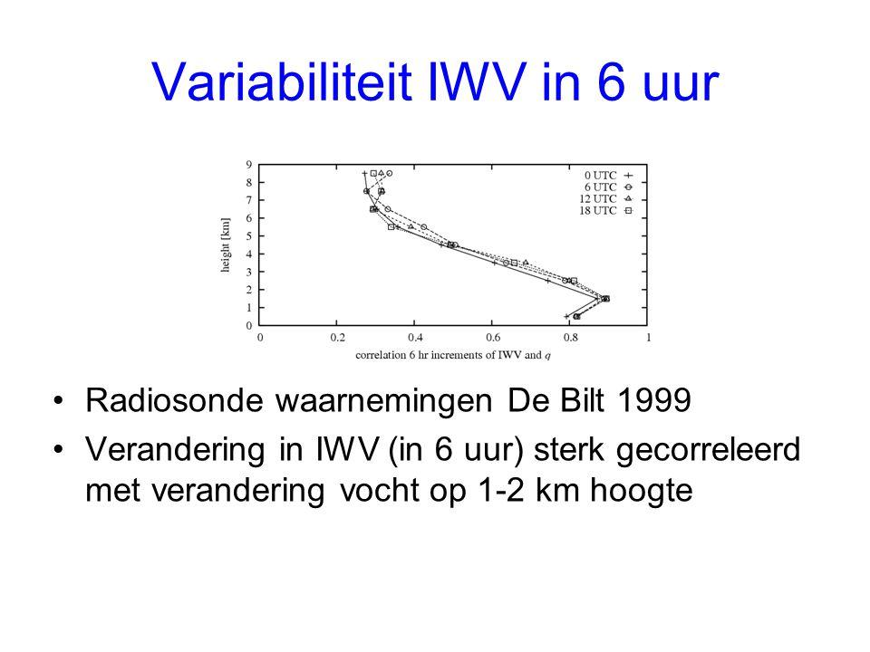 Variabiliteit IWV in 6 uur Radiosonde waarnemingen De Bilt 1999 Verandering in IWV (in 6 uur) sterk gecorreleerd met verandering vocht op 1-2 km hoogte