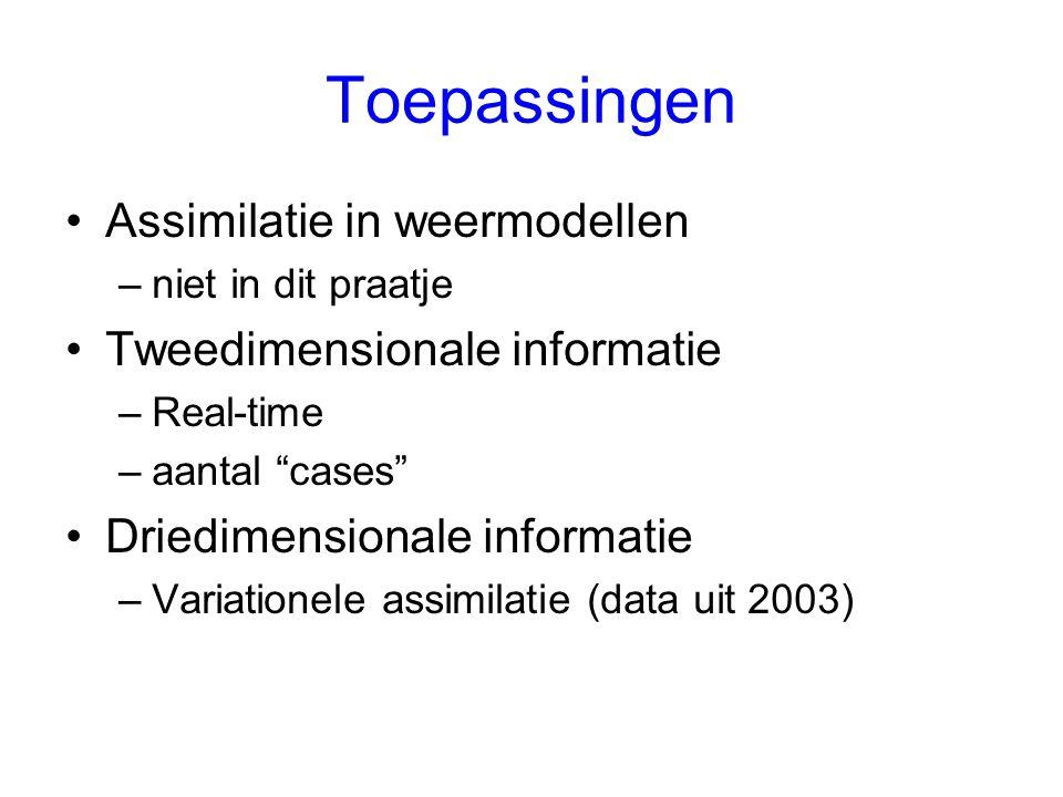 Toepassingen Assimilatie in weermodellen –niet in dit praatje Tweedimensionale informatie –Real-time –aantal cases Driedimensionale informatie –Variationele assimilatie (data uit 2003)