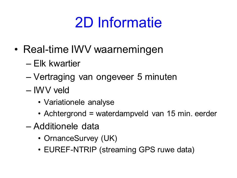 2D Informatie Real-time IWV waarnemingen –Elk kwartier –Vertraging van ongeveer 5 minuten –IWV veld Variationele analyse Achtergrond = waterdampveld van 15 min.