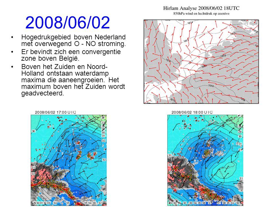 2008/06/02 Hogedrukgebied boven Nederland met overwegend O - NO stroming.