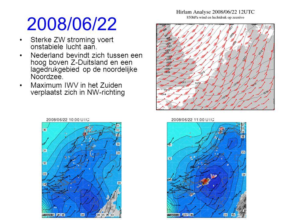 2008/06/22 Sterke ZW stroming voert onstabiele lucht aan.
