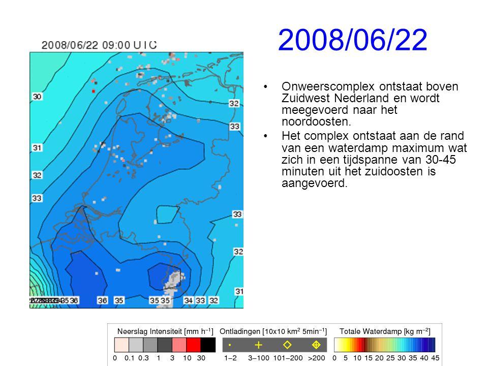 2008/06/22 Onweerscomplex ontstaat boven Zuidwest Nederland en wordt meegevoerd naar het noordoosten.