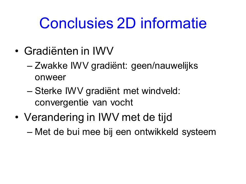 Conclusies 2D informatie Gradiënten in IWV –Zwakke IWV gradiënt: geen/nauwelijks onweer –Sterke IWV gradiënt met windveld: convergentie van vocht Verandering in IWV met de tijd –Met de bui mee bij een ontwikkeld systeem