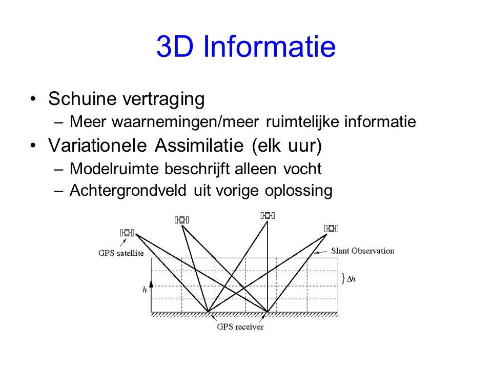 3D Informatie Schuine vertraging –Meer waarnemingen/meer ruimtelijke informatie Variationele Assimilatie (elk uur) –Modelruimte beschrijft alleen vocht –Achtergrondveld uit vorige oplossing