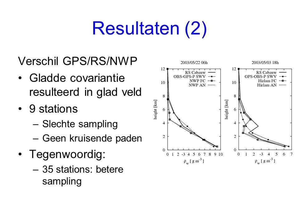 Resultaten (2) Verschil GPS/RS/NWP Gladde covariantie resulteerd in glad veld 9 stations –Slechte sampling –Geen kruisende paden Tegenwoordig: –35 stations: betere sampling