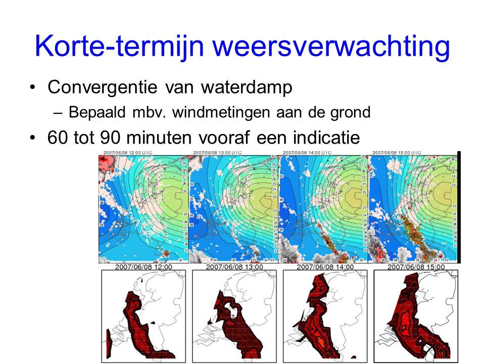 Korte-termijn weersverwachting Convergentie van waterdamp –Bepaald mbv.