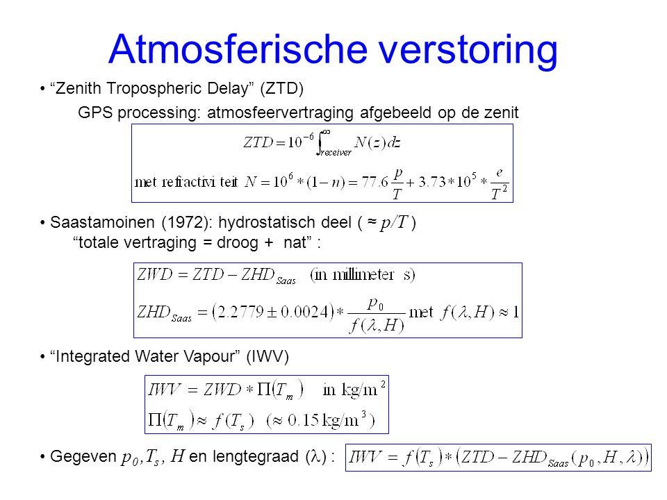 Atmosferische verstoring Zenith Tropospheric Delay (ZTD) GPS processing: atmosfeervertraging afgebeeld op de zenit Saastamoinen (1972): hydrostatisch deel ( ≈ p/T ) totale vertraging = droog + nat : Integrated Water Vapour (IWV) Gegeven p 0,T s, H en lengtegraad ( ) :