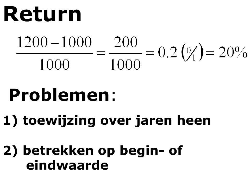 Return Problemen: 1) toewijzing over jaren heen 2) betrekken op begin- of eindwaarde