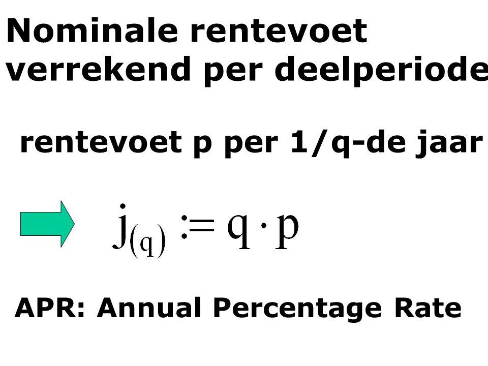 Nominale rentevoet verrekend per deelperiode rentevoet p per 1/q-de jaar APR: Annual Percentage Rate