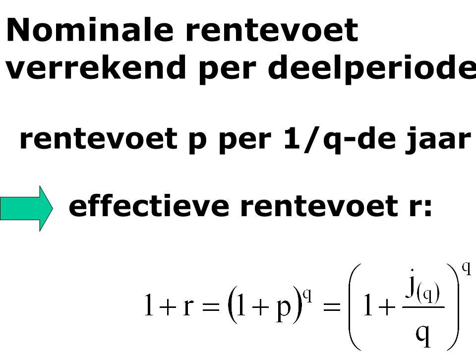 effectieve rentevoet r: Nominale rentevoet verrekend per deelperiode rentevoet p per 1/q-de jaar