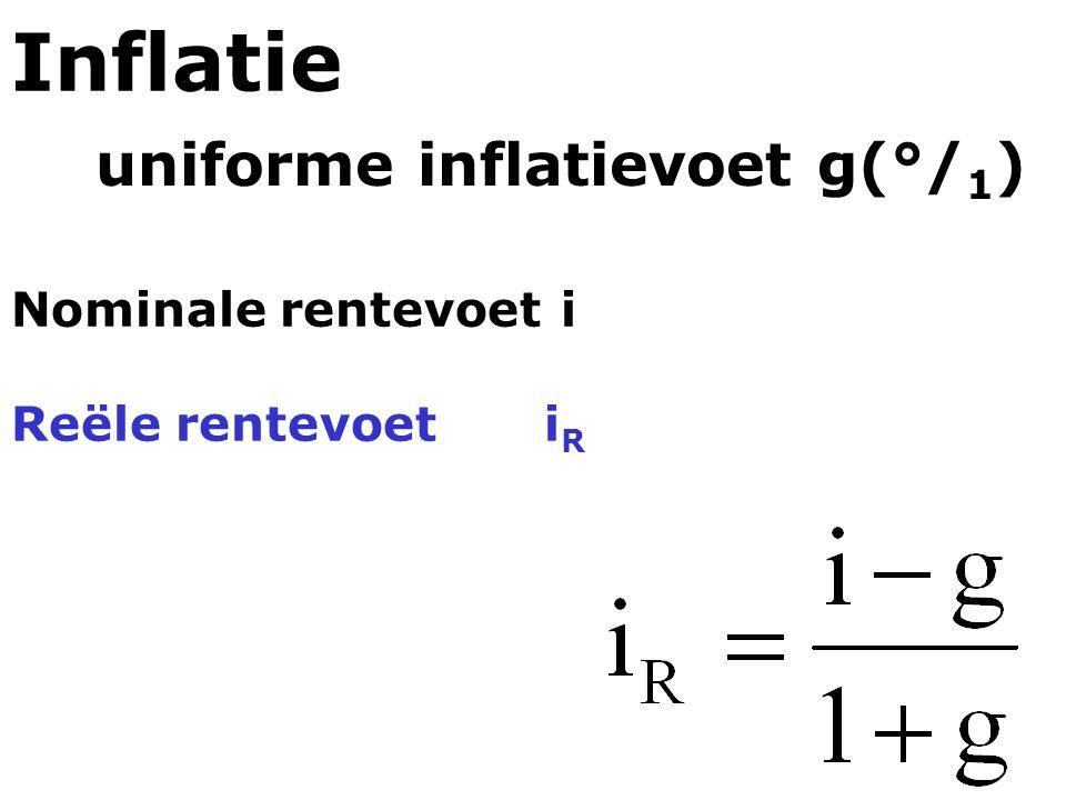 Nominale rentevoet i Reële rentevoeti R Inflatie uniforme inflatievoet g(°/ 1 )