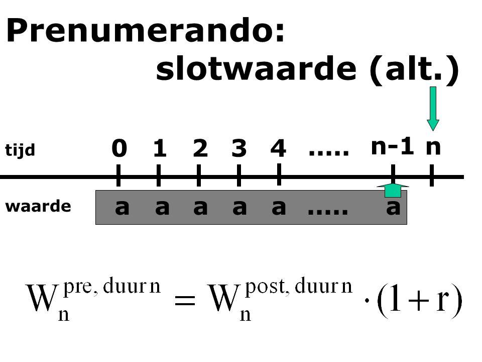 tijd waarde 0123 n-1 n 4 aaaaaa..... Prenumerando: slotwaarde (alt.)