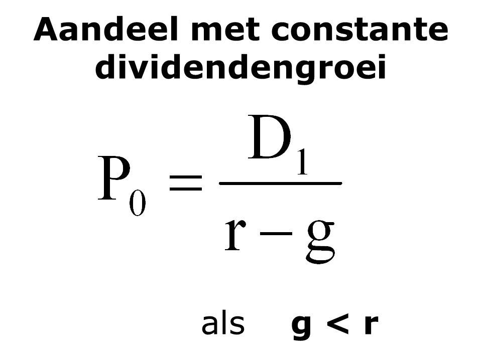 Aandeel met constante dividendengroei als g < r