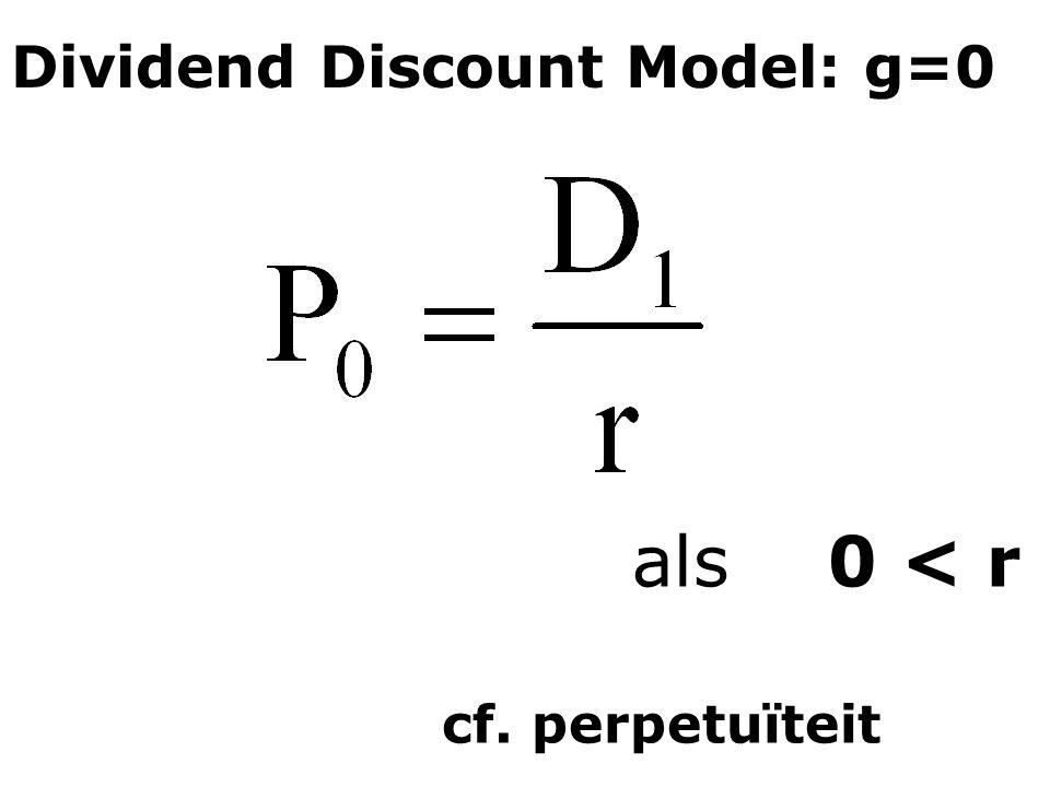 Dividend Discount Model: g=0 als 0 < r cf. perpetuïteit