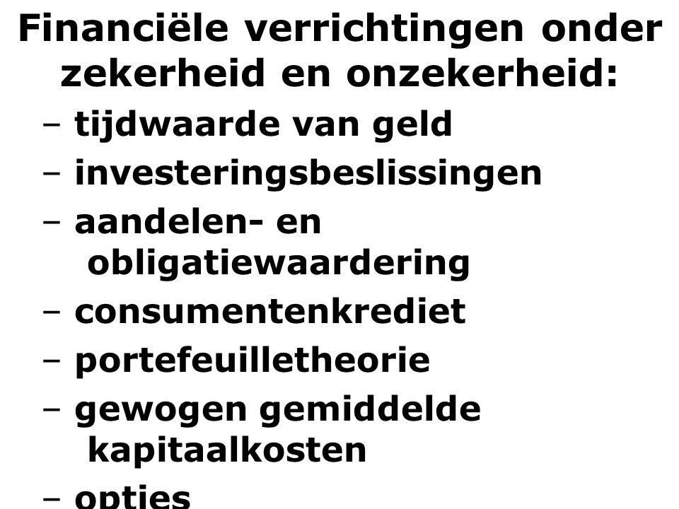 Financiële verrichtingen onder zekerheid en onzekerheid: – tijdwaarde van geld – investeringsbeslissingen – aandelen- en obligatiewaardering – consume