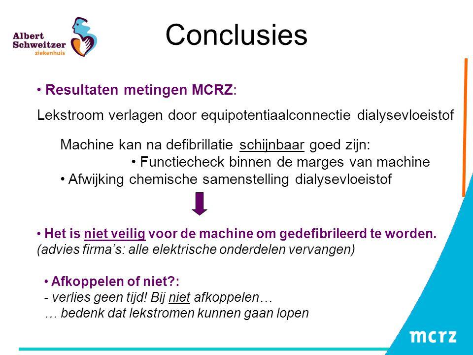 Conclusies Het is niet veilig voor de machine om gedefibrileerd te worden. (advies firma's: alle elektrische onderdelen vervangen) Resultaten metingen