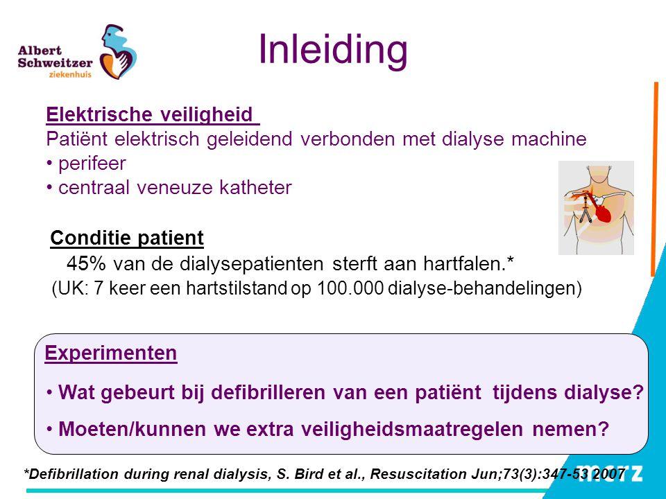 Inleiding *Defibrillation during renal dialysis, S. Bird et al., Resuscitation Jun;73(3):347-53 2007 Wat gebeurt bij defibrilleren van een patiënt tij