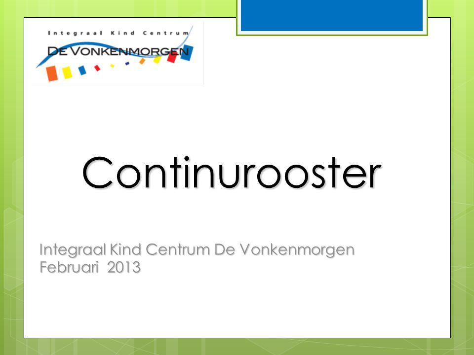 Continurooster Integraal Kind Centrum De Vonkenmorgen Februari 2013