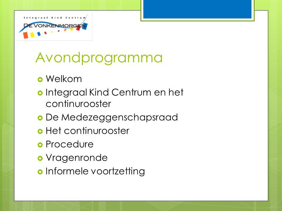 Avondprogramma  Welkom  Integraal Kind Centrum en het continurooster  De Medezeggenschapsraad  Het continurooster  Procedure  Vragenronde  Informele voortzetting