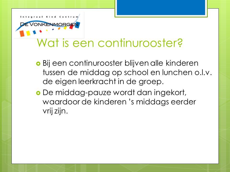 Wat is een continurooster?  Bij een continurooster blijven alle kinderen tussen de middag op school en lunchen o.l.v. de eigen leerkracht in de groep