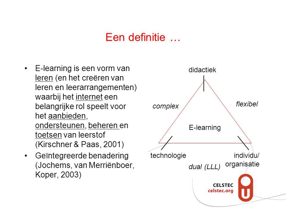 Een definitie … E-learning is een vorm van leren (en het creëren van leren en leerarrangementen) waarbij het internet een belangrijke rol speelt voor het aanbieden, ondersteunen, beheren en toetsen van leerstof (Kirschner & Paas, 2001) Geïntegreerde benadering (Jochems, van Merriënboer, Koper, 2003) E-learning didactiek technologieindividu/ organisatie complex dual (LLL) flexibel