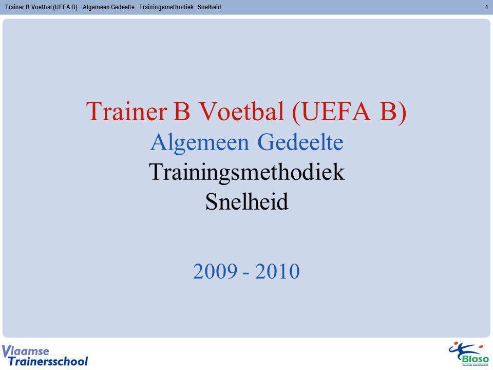 Trainer B Voetbal (UEFA B) - Algemeen Gedeelte - Trainingsmethodiek - Snelheid2 Inhoud 1.Situering 2.Prestatiebepalende factoren 3.Overzicht 4.Methodiek