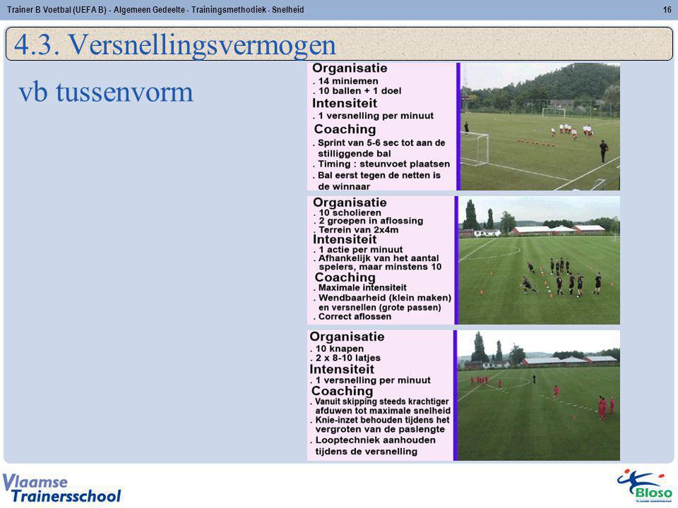 vb tussenvorm 4.3. Versnellingsvermogen 16Trainer B Voetbal (UEFA B) - Algemeen Gedeelte - Trainingsmethodiek - Snelheid
