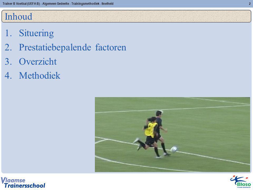 Trainer B Voetbal (UEFA B) - Algemeen Gedeelte - Trainingsmethodiek - Snelheid2 Inhoud 1.Situering 2.Prestatiebepalende factoren 3.Overzicht 4.Methodi